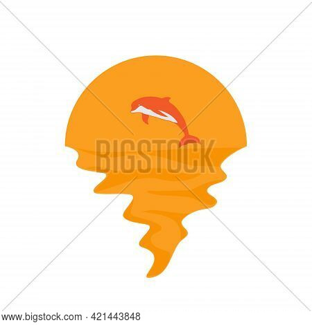 Vector Of Dolphin On Sea And Sunset In Background. Dolphin Jumping Out Of Water Company Logo Illustr