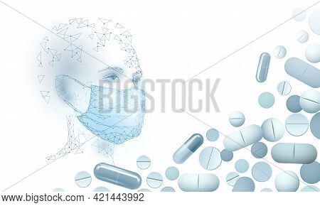 Woman Doctor Scientists Vaccine Pills. Safety Medical Mask Virus Protection. Developing Pandemic Cor
