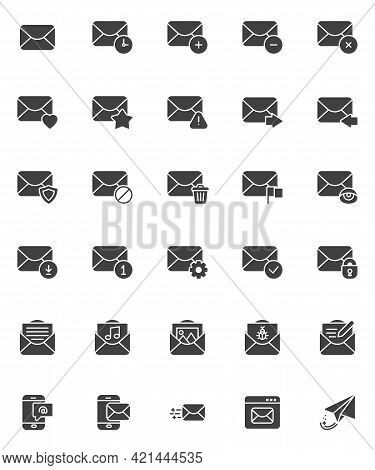 Mail Email Vector Icons Set, Modern Solid Symbol Collection, Filled Style Pictogram Pack. Signs, Log