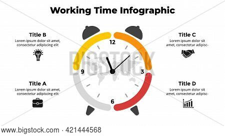 Vector Time Infographic. Clock Circle Diagram. Working Hours Concept. Presentation Slide Template. 4