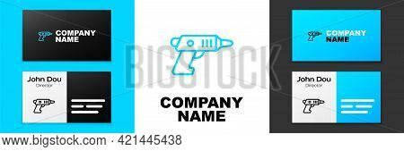 Blue Line Electric Cordless Screwdriver Icon Isolated On White Background. Electric Drill Machine. R