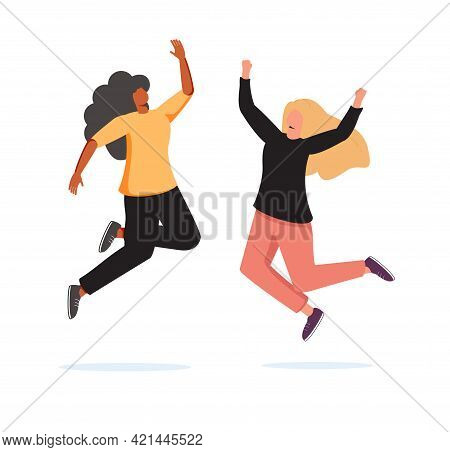 Happy Women Jumping On White Background. Young Joyful Female Characters Jump Or Dancing With Raised