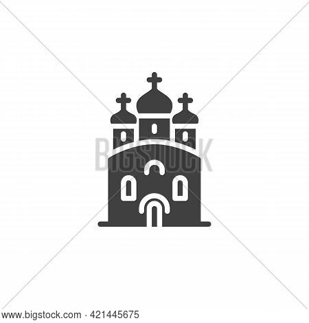 Church With Domes Vector Icon. Filled Flat Sign For Mobile Concept And Web Design. Athedral Church G
