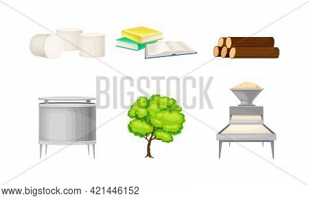Paper Production With Lumber Cutting And Crushing Into Wood Dust Vector Set