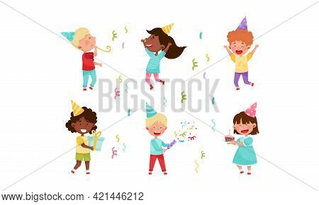 Kid Characters In Birthday Hat At Party Holding Gift Box And Cracker Vector Illustration Set
