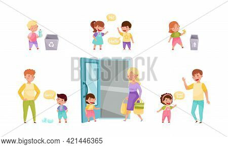 Little Boy And Girl Throwing Trash In Dustbin, Apologizing And Greeting Vector Illustration Set