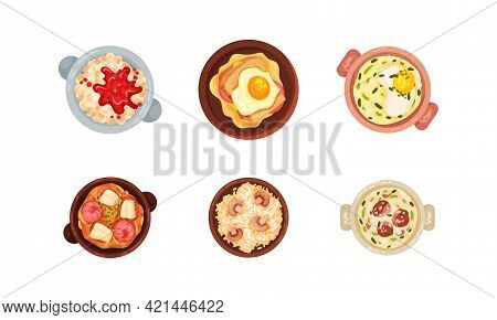 Portuguese Dishes And Main Courses With Garnished Scrambled Egg And Rice With Mushroom View From Abo