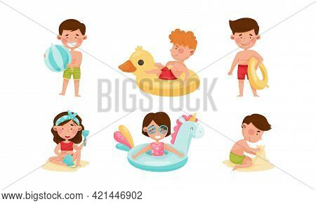 Children At Sea Shore Playing, Sunbathing And Swimming In Water Vector Illustration Set