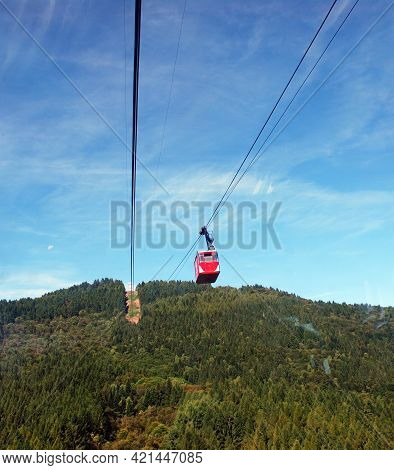 Stresa - Lago Maggiore (lake Maggiore), Italy - August 13, 2017: Arial Cableway Cabin From Stresa To