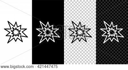 Set Line Bomb Explosion With Shrapnel And Fireball Icon Isolated On Black And White, Transparent Bac