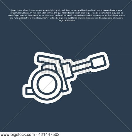 Blue Line Howitzer Icon Isolated On Blue Background. Shooting From A Gun. Artillery. Vector