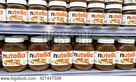 Bordeaux , Aquitaine France - 05 18 2021 : Nutella Sign Logo And Text Brand Chocolate Hazelnut Sprea