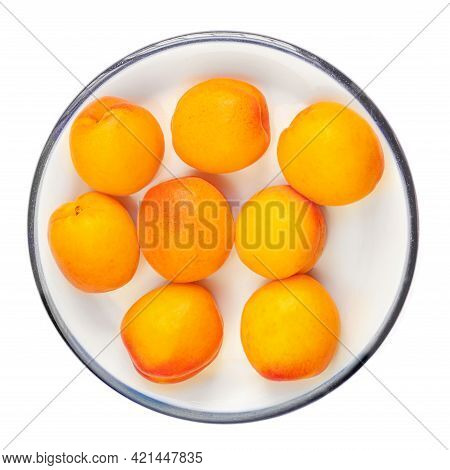 Isolated Apricot Fruits On A Plate. Apricot On White Background. Sweet Apricots With Leafs Closeup.