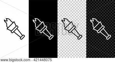 Set Line Torch Flame Icon Isolated On Black And White, Transparent Background. Symbol Fire Hot, Flam