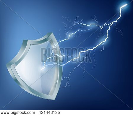 Security Glass Shield Reflects Of Lightning With Sparkles A Vector Illustration.