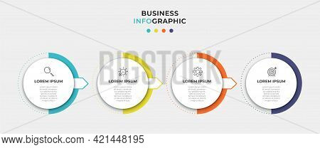 Vector Infographic Circle Label Design Business Template With Icons And 4 Options Or Steps. Can Be U