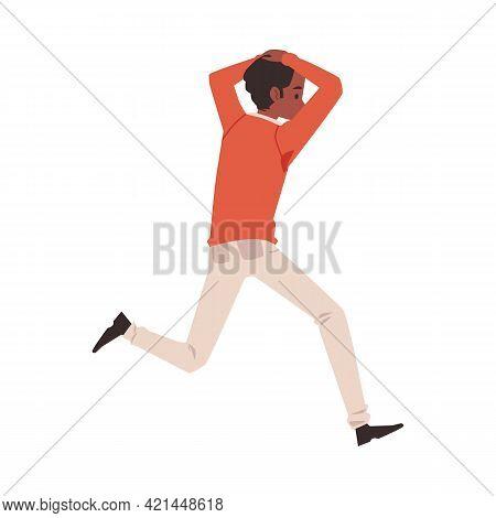 Man Running Away In Panic Afraid Of Something, Flat Vector Illustration Isolated.