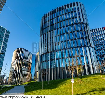 Prague, Czech Republic - 18.04.2021: Common Modern Apartment Skyscrapers, High Rise Buildings. Skysc