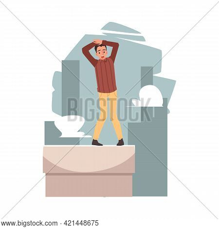 Man With Fear Or Phobia Of Heights, Flat Vector Illustration Isolated.