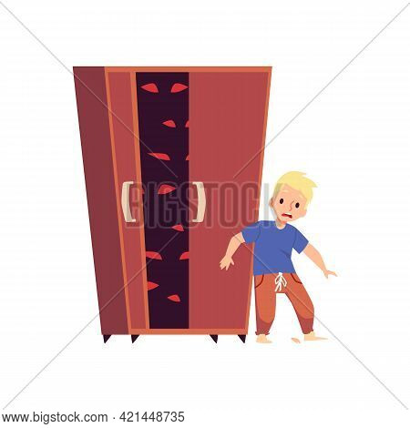 Scared Child Afraid Of Monsters In Cupboard, Flat Vector Illustration Isolated.
