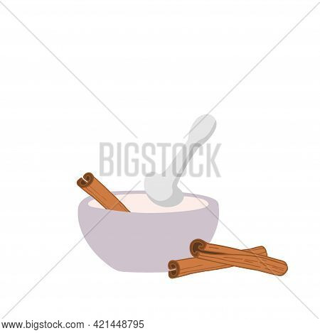 Cinnamon In Ceramic Or Stone Mortar. Organic Product Flat. Flavor Cooking Ingredient. Cinnamon With