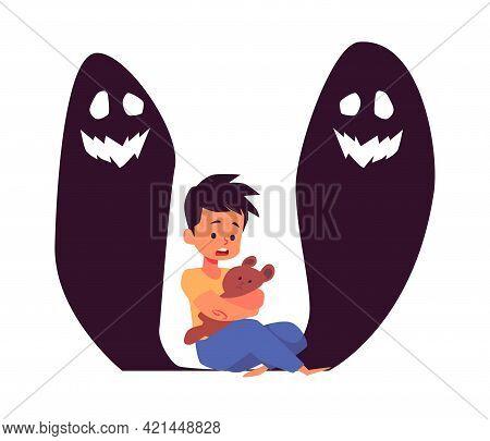 Little Boy Afraid Of Monsters Flat Vector Illustration Isolated On White.