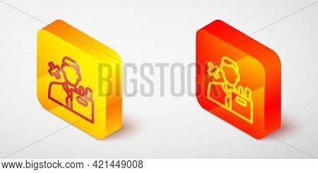 Isometric Line Dismissed Sad Young Man Carrying Box With His Personal Belonging Leaving His Job Icon