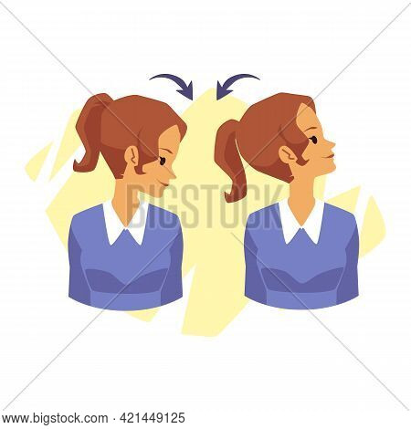 Woman Doing Head Rotations From Side To Side, Flat Vector Illustration Isolated.