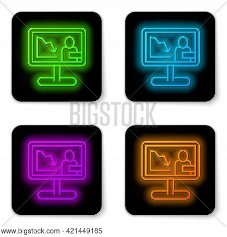 Glowing Neon Line Global Economic Crisis News Icon Isolated On White Background. World Finance Crisi