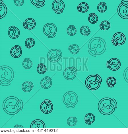 Black Line Dollar Rate Decrease Icon Isolated Seamless Pattern On Green Background. Cost Reduction.