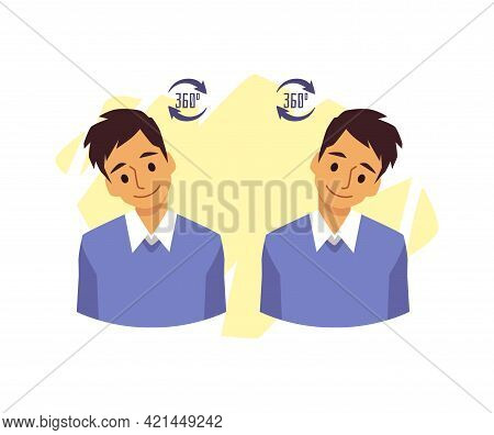 Man Doing Neck Exercise Rotating His Head Flat Vector Illustration Isolated.