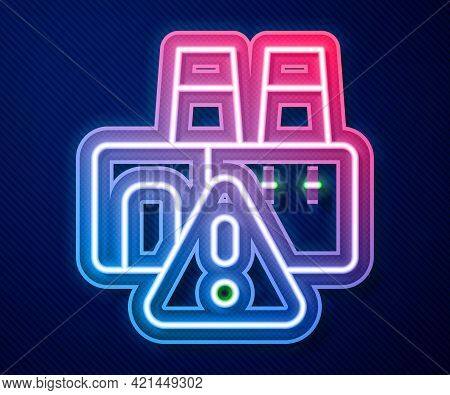 Glowing Neon Line Shutdown Of Factory Icon Isolated On Blue Background. Industrial Building. Vector