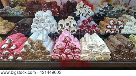 Variety Of Turkish Traditional Lokum Sweet Delight Wallpaper, Texture, Background. Middle East Typic