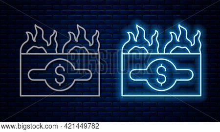 Glowing Neon Line Burning Dollar Bill Icon Isolated On Brick Wall Background. Dollar Bill On Fire. B
