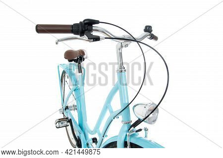 Close Up Blue Retro Bicycle  In Perspective View , Isolated