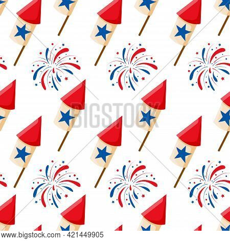Usa Firework, Rocket And Stars Seamless Pattern Background For National American Holidays Design. 4t