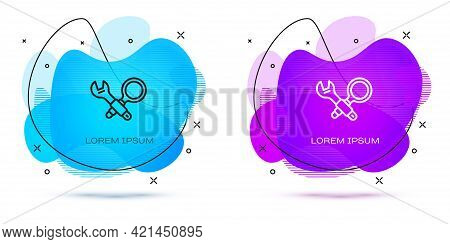 Line Debugging Icon Isolated On White Background. Debugging Tool. Magnifying Glass On Bug Programmin
