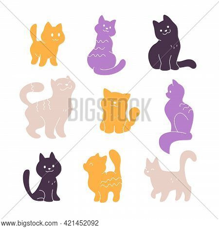 Collection Of Cute Smiling Cat Silhouettes Sit, Walk, Stand Isolated On White Background. Vector Sim