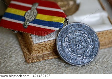 Marghia, Romania - May 5, 2021: Shallow Depth Of Field (selective Focus) Details With Old Communist