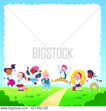 Banner With Text Place And Multiracial Happy School Kids Group With Backpacks Smiling, Jumping And H