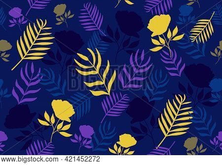 Vector Seamless Tropical Floral Pattern In Yellow And Blue Colors. Hand Drawn Tropical Palm Leaves W
