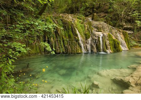 View Of Wild Waterfall With Yellow Flowers In The Umbria Mountain, Italy