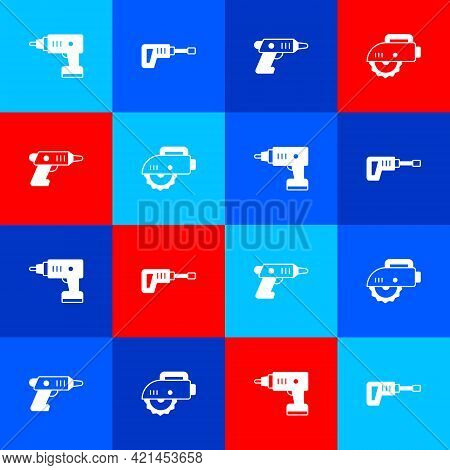 Set Electric Cordless Screwdriver, Rotary Hammer Drill Machine, And Circular Saw Icon. Vector