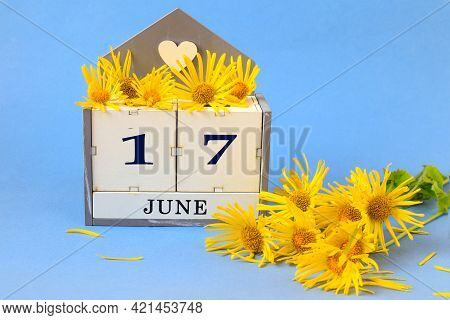 Calendar For June 17: Cubes With The Number 17 , The Name Of The Month Of June In English, A Yellow