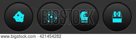 Set Asteroid, Solar System, Astronaut Helmet And Astronomical Observatory Icon. Vector