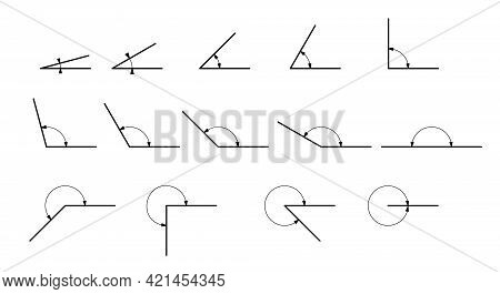 Angle Different Degrees. Set Of Vector Icons Consisting Of Angles Of Different Degrees