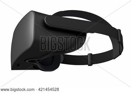 Virtual Black Reality Glasses Isolated On White Background. 3d Rendering Of Goggles For Virtual Desi