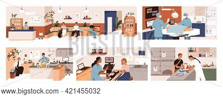 Set Of Scenes In Vet Clinic. Doctors Examining And Cure Pets In Veterinarian Office. Sick Animals An
