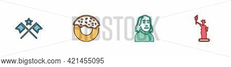 Set American Flag, Donut, Benjamin Franklin And Statue Of Liberty Icon. Vector