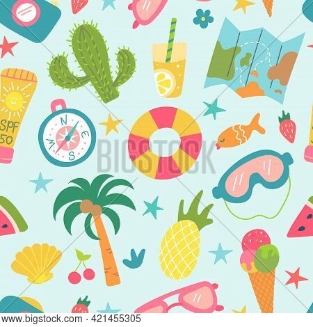 Summer Beach Set Of Elements. Cactus, Palm Tree, Pineapple, Ice Cream. Recreation And Tourism. Vecto
